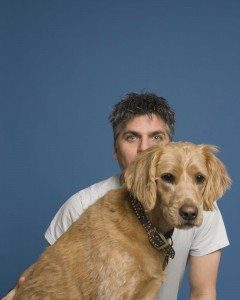 Garth Stein with his dog named Comet
