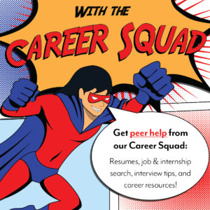 Career Squad Image with Superhero Saying you Can Get Peer Help