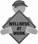 """cartoon man holding a sign that says """"Wellness at work"""""""