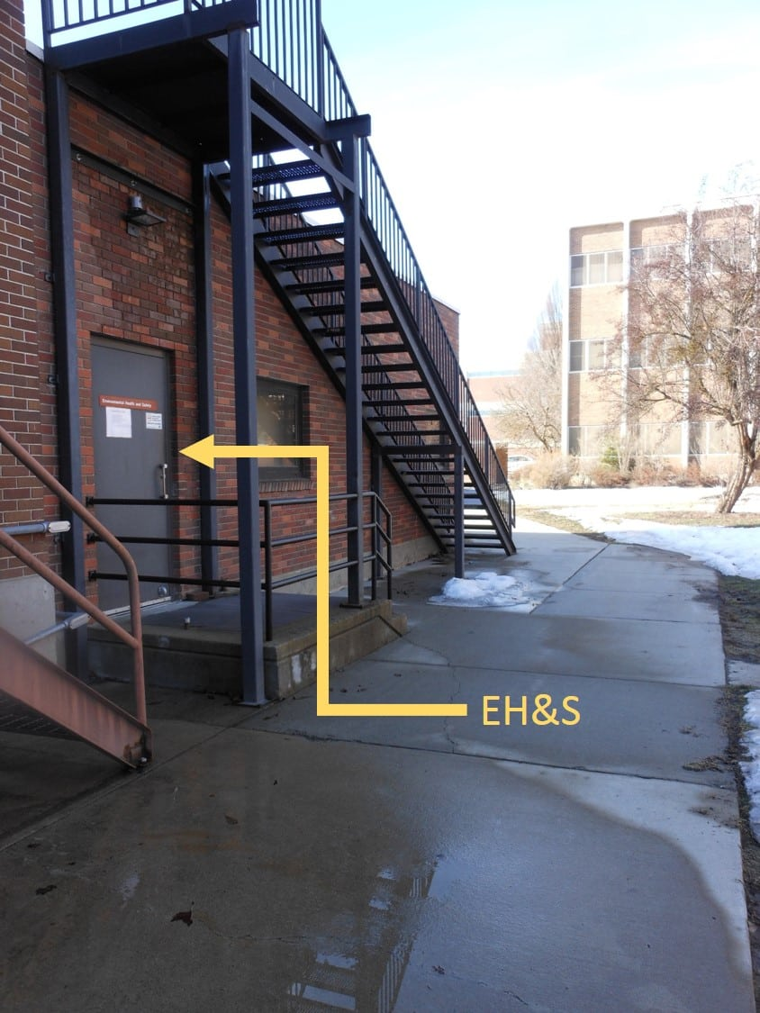 Image showing the location of the EH&S offices, taken standing outside the stairs in the back of Martin Hall