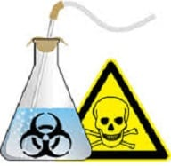 laboratory flask with the biohazard symbol on it and a skull and crossbones warning sign
