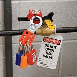 example of a locked out and tagged out valve