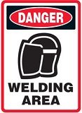 warning sign for welding areas
