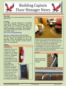 Page 1 of the March 2017 Building Captain and Floor Manager Newsletter