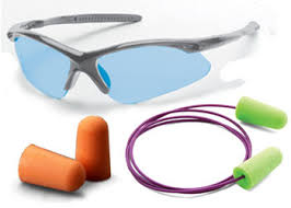 image of personal protective equipment, safety glasses and ear plugs