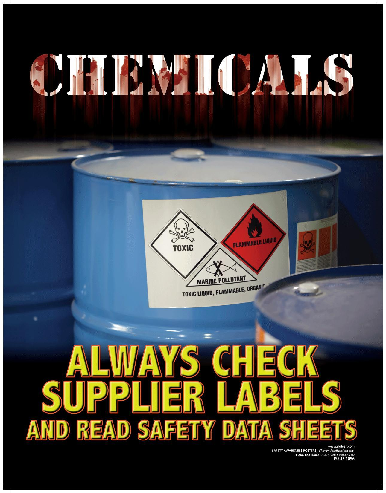 image reminding people to check chemical labels and the safety data sheet before using
