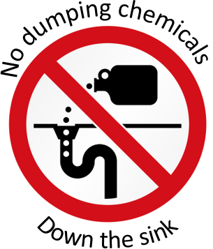 Image reminding people that dumping chemicals down the drain is prohibited