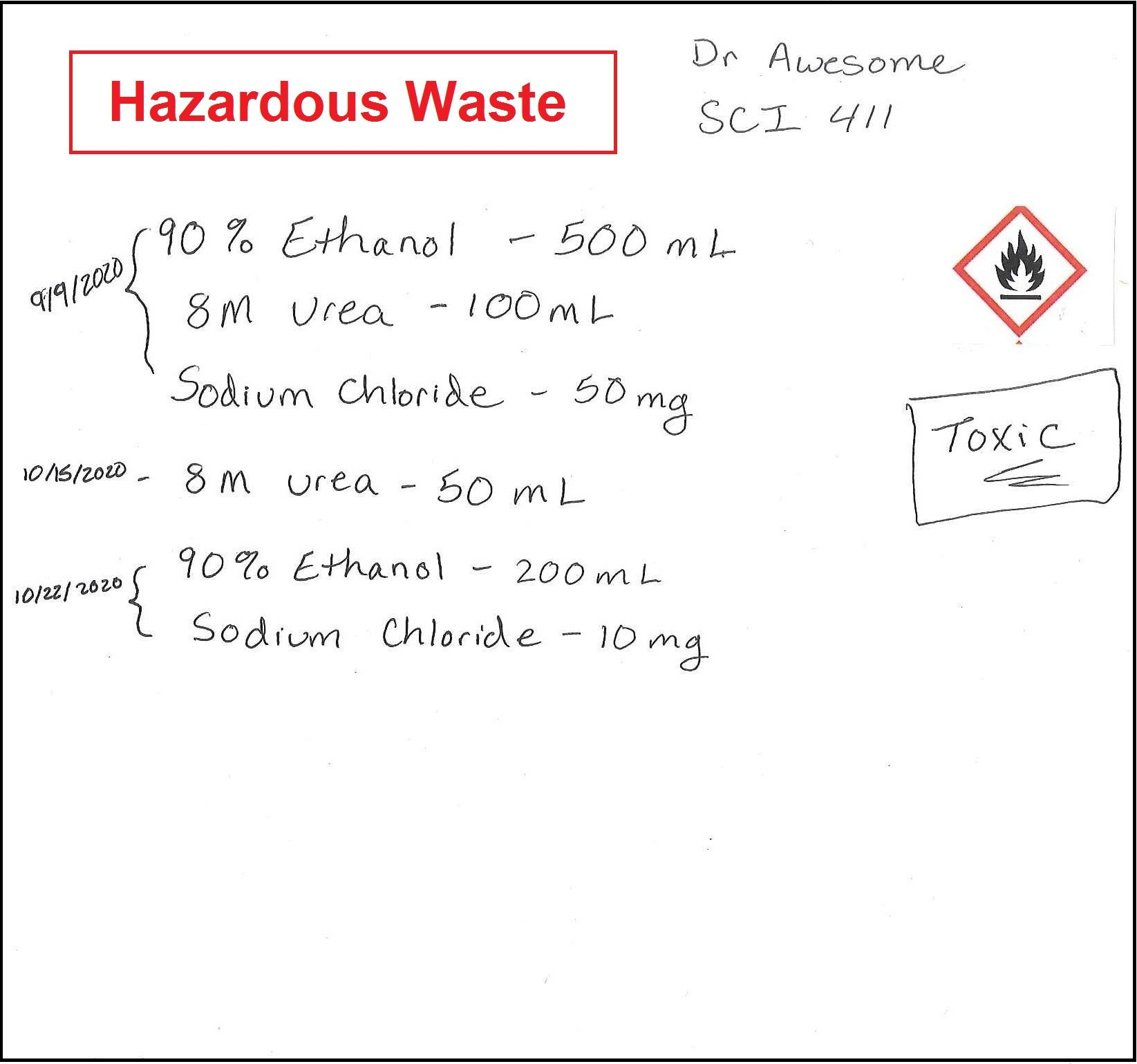 Example waste label for a container that is still being filled.