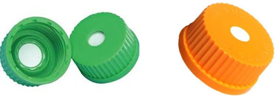 Vented caps for waste containers.
