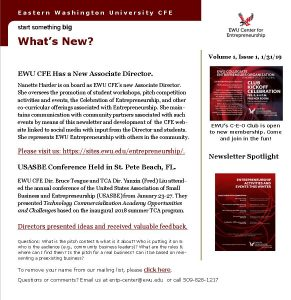 EWU CFE Newsletter January 31 2019 Volume 1 Issue 1 Updated February 3 2019