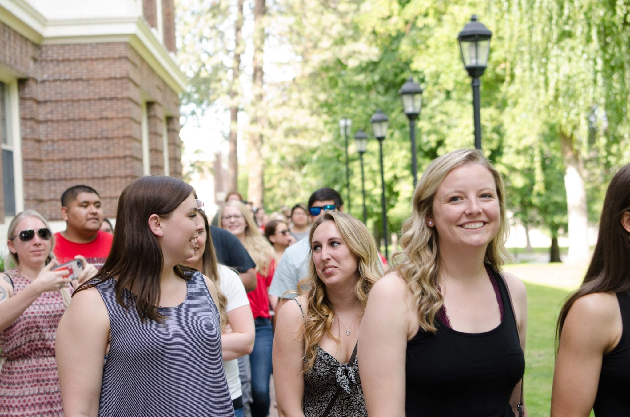 Students in front of Showalter Hall