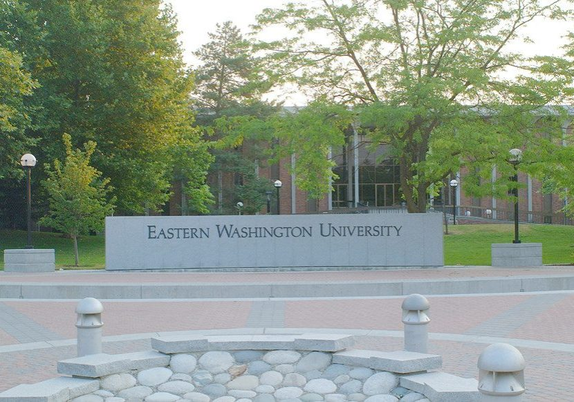 the EWU sign in the mall
