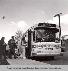 Boarding the bus at the student union