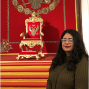 EWU McNair Scholar, Wendolyn Martinez, in the Tsar's Throne Room in the Winter Palace, St. Petersburg, Russia.