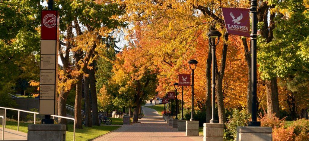 EWU walkway in the fall