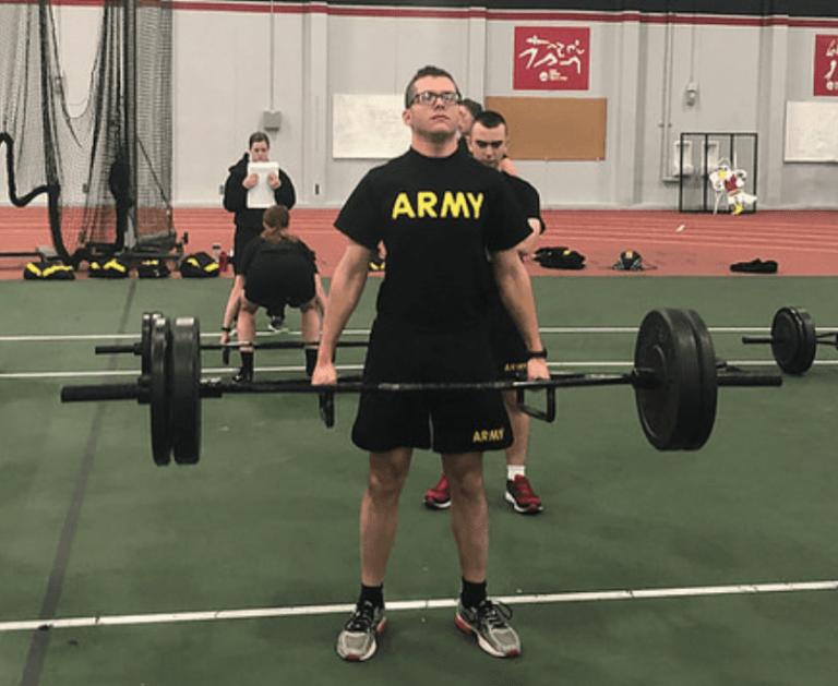 Cadet lifts weights