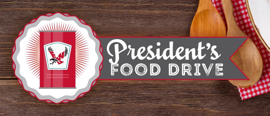 "Image of canned food with EWU Eagle and text ""President's Food Drive"""
