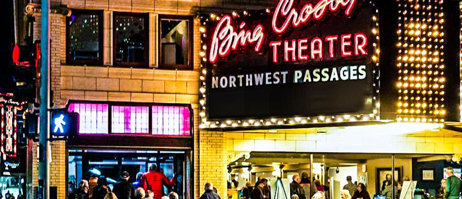 """Bing Crosby Theatre in Spokane with """"Northwest Passages"""" on the marquee"""